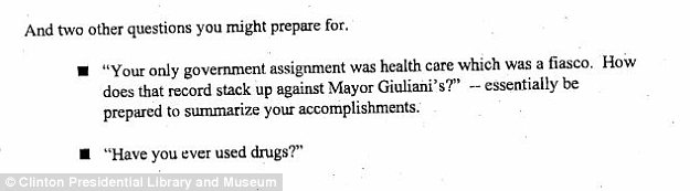 Awkward: Clinton adviser Mandy Grunwald wrote in 1999 that she had to be prepared to answer reporters' questions about whether she had ever used drugs