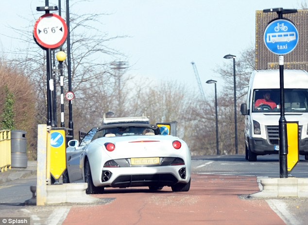 Fast car: The former The Apprentice star veered back into her own lane after performing the risky move in central London