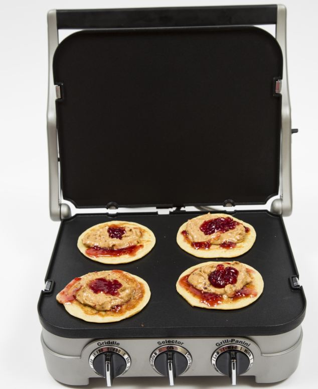 The Cuisinart Griddle and Grill, here with peanut butter and jam pancakes, has different cooking options