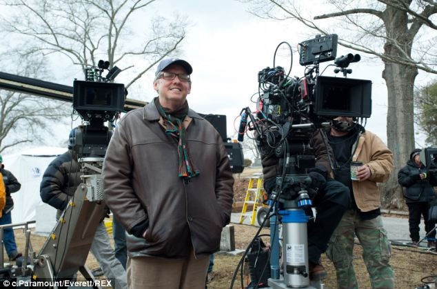 At the helm: McKay - pictured on Set of Anchroman 2: The Legend Continues - directed and co-wrote both comedy films
