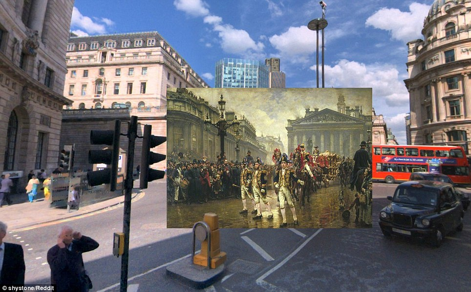 The 9th of November, 1888 by William Logsdail (1890)  - A Lord Mayor's Procession passes through Bank Junction in Logsdail's painting. On the left side of the canvas is The Old Bank of England, captured here 50 years before demolition