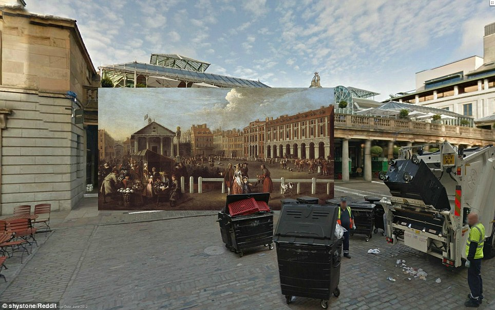 Covent Garden Market by Balthazar Nebot (1737) - Covent Garden Market, built in the 1660s, was the first open square of its kind in London. In 1737, when Nebot made this work, the square was notorious as a red light district. The Market Hall only came later, in 1830