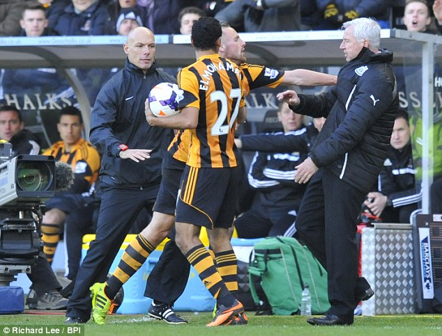 Anger: Meyler was seen pushing Pardew as the pair clashed when a stray ball went out of play
