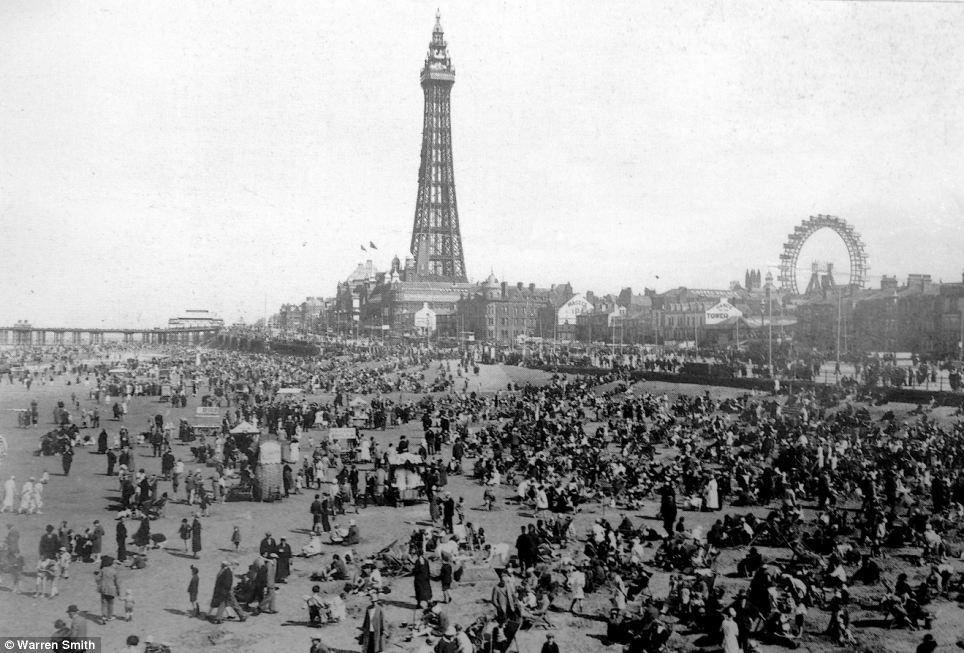 Crowded: This photograph from the 1920s shows tens of thousands of tourists crowding the beach and the promenade in Blackpool