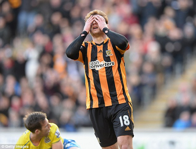 Disbelief: Hull frontman Jelavic reacts after missing a chance on goal