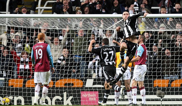 Beaten: Andy Carroll (top right) celebrates scoring against West Ham in 2009 as James Collins (left) look on