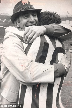 Emotional scenes: Sunderland manager Bob Stokoe, who died in 2004, embraces Ian Porterfield after beating Leeds to win the 1973 FA Cup