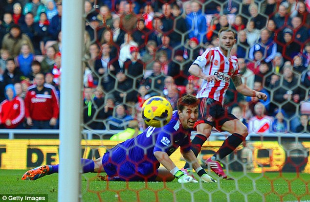 Last time out: Sunderland's Phil Bardsley scored the winner against Manchester City in their Premier League clash and the teams meet in the Capital One Cup final on Sunday