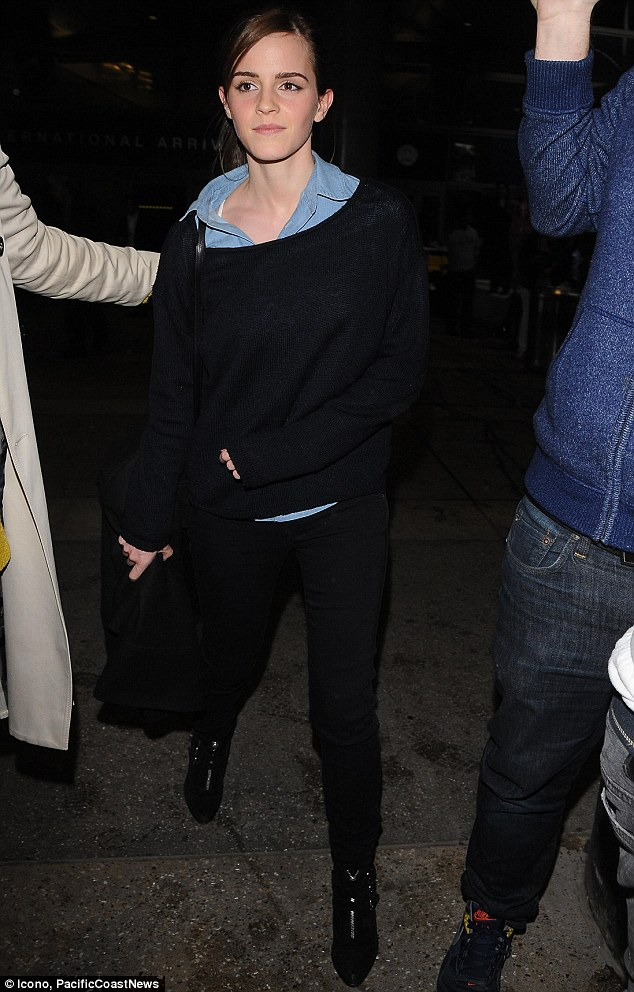 Schoolgirl chic: The British actress pulled off her rather student-like all-blue ensemble, consisting of dark blue jeans, pale shirt and navy knitted sweater, teamed with black ankle boots, though it did nothing to help her bid not to be mistaken for an unaccompanied minor
