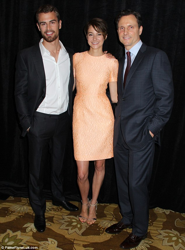 Happy trio: The three actors looked quite pleased to be back in one another's arms