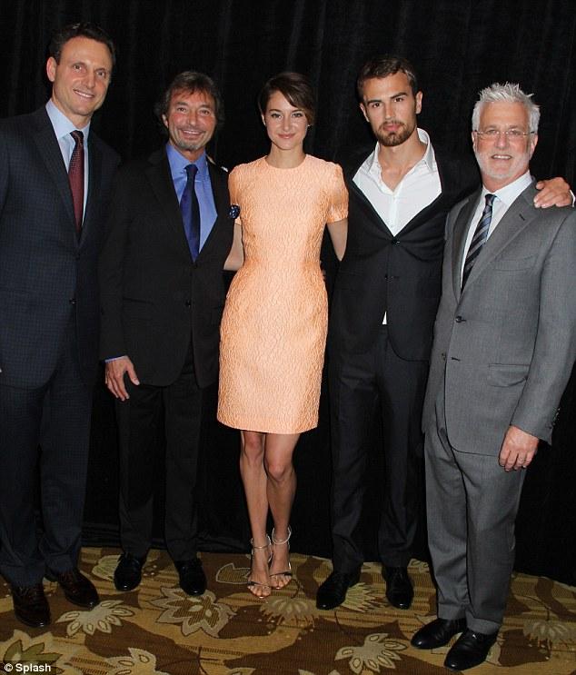The cast: Divergent stars Shailene, Theo and Tony Goldwyn reunited  Rob Friedman and Patrick Wachsberger,
