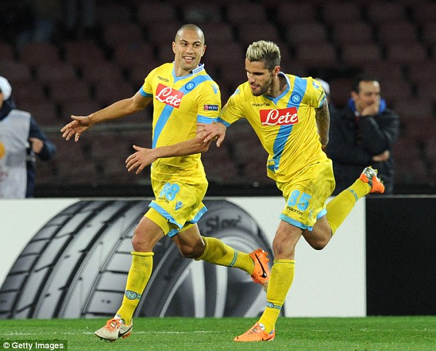 Elimination: But Napoli would ultimately win 3-1, with Gokhan Inler breaking away to score the killer goal in stoppage time