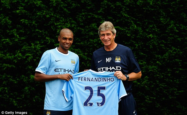 Recall: Since joining City in the summer from Shakhtar Donetsk, Fernandinho has also forced his way back into the Brazil squad and could be heading to the World Cup