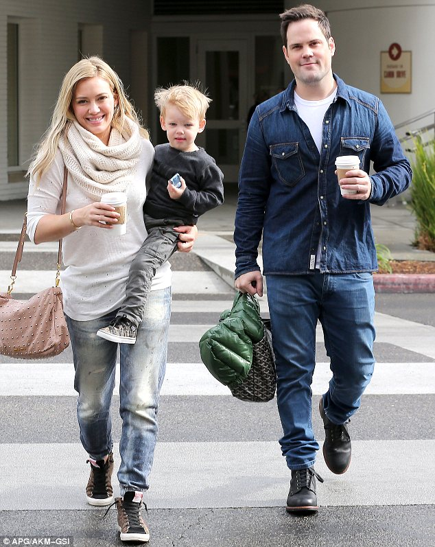 Happy families: Hilary Duff and Mike Comrie took their son Luca out for breakfast in Beverly Hills on Saturday