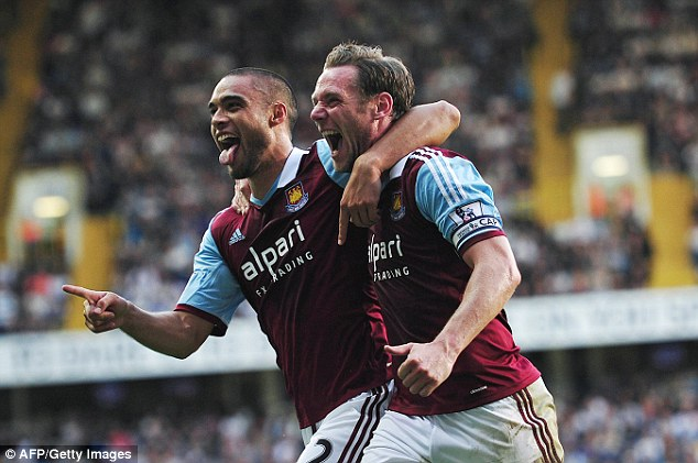 Sought after: West Ham's Winston Reid (left) has become a target for Arsenal, Manchester City and Manchester United