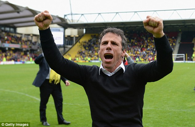 Favourite: Gianfranco Zola is in pole position to replace Harry Redknapp at QPR