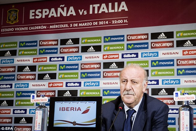 Tough choices: Del Bosque talks to the media after announcing his squad to play Italy next week