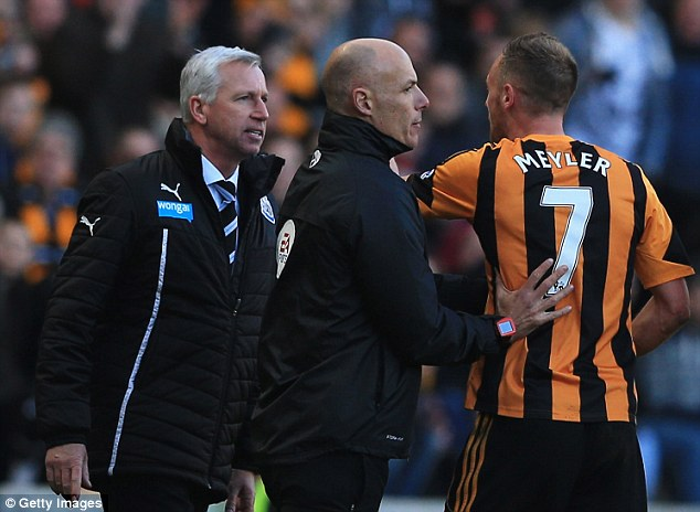 Scuffle: The incident started after Meyler pushed Pardew out of the way with the ball rolling towards him