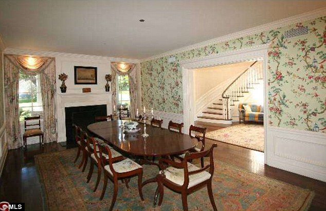 Set phasers to stunning: The filmmaker will have fallen in love with the dining room's floral wallpaper and matching curtains