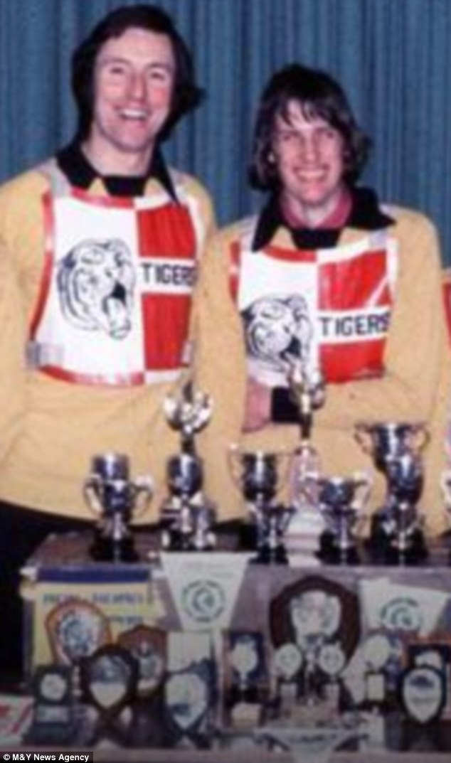 Mentor: Paedophile Mike Green (left), who has been jailed for nine years for sexually abusing boys, was a good friend of future child-killer Roy Whiting (right) at Crawley Tigers Speedway Club, where the pair are pictured
