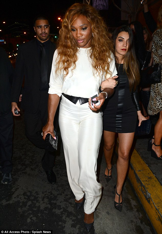 Glowing:  Serena Williams looked stunning in a white jumpsuit at the  The 1Oak Pre Oscar Party Powered by CIROC on Saturday evening