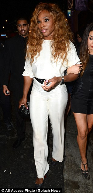 Fitting like a glove: Serena looked stunning in the white jumpsuit, which  made the most of her best features