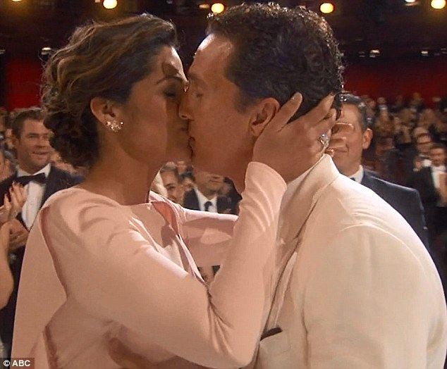 Love of his life: He shared a lingering kiss with wife Camila Alves after he was named best actor