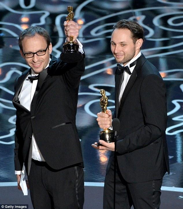 Big wins: Filmmakers Laurent Witz and Alexandre Espigares accept the Best Short Film, Animated award for Mr. Hublot
