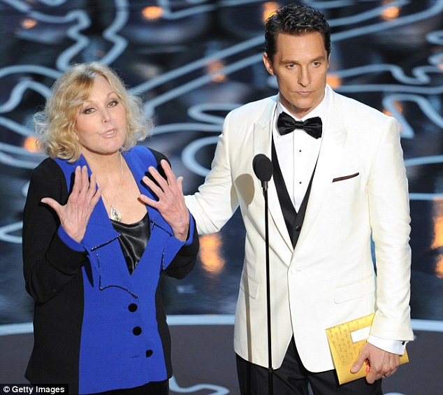 Screen siren: 81-year-old actress Kim Novak was joined by Matthew McConaughey to present the award for Best Animated Feature
