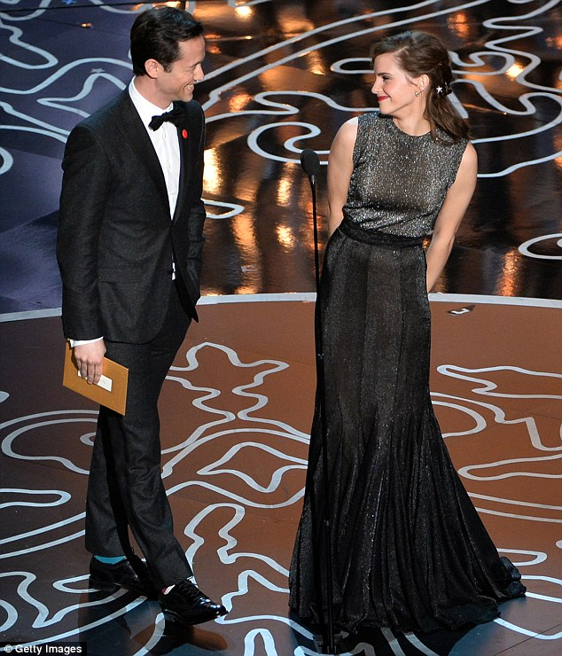 Cute couple: Emma and Joseph enjoyed a playful exchange before giving out their award