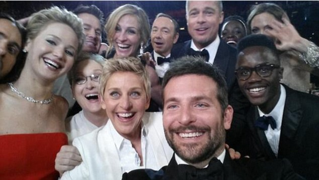 Best selfie ever! Ellen poses with her A-list pals at the Oscars