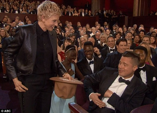 Ellen's best bits: The host took Pharrell's hat around the audience at one point, forcing the stars to off load some personal items in it