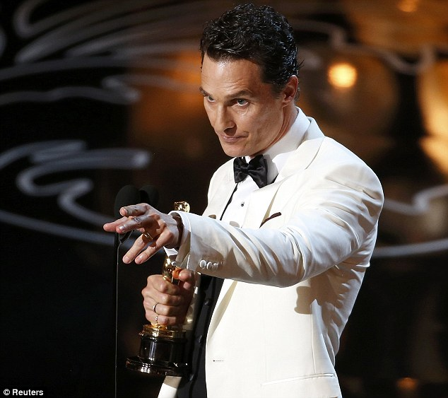 Emotive: Matthew appeared to be choked when mentioned making his family 'proud' in his acceptance speech, pointing out to his wife Camila