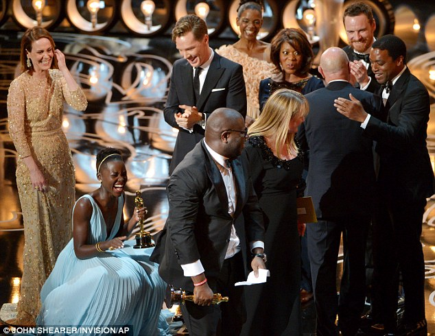 We won! The cast and crew of 12 Years A Slave are elated, as it all becomes too much for Lupita Nyong'o