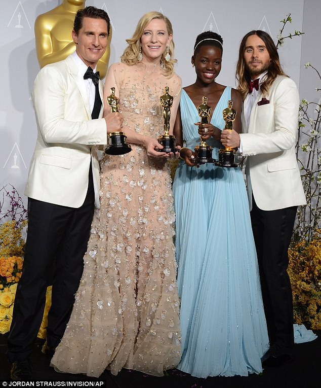 Top acting honours: Matthew, Cate, Lupita and Jared share their joy backstage