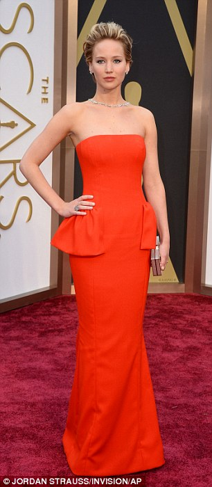 The long and short of it: Jennifer Lawrence changed her dress and her hemline between events