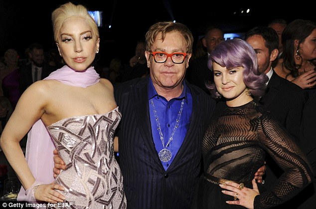 Good company: (L-R) The Recording artist Lady Gaga, Sir Elton John, and TV personality Kelly Osbourne attend the 22nd Annual Elton John AIDS Foundation Academy Awards Viewing Party