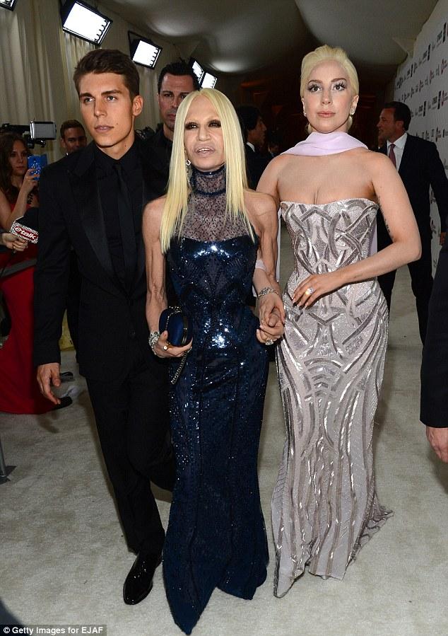 Fashion friends: Gaga kept close to her pal Donatella Versace throughout the night