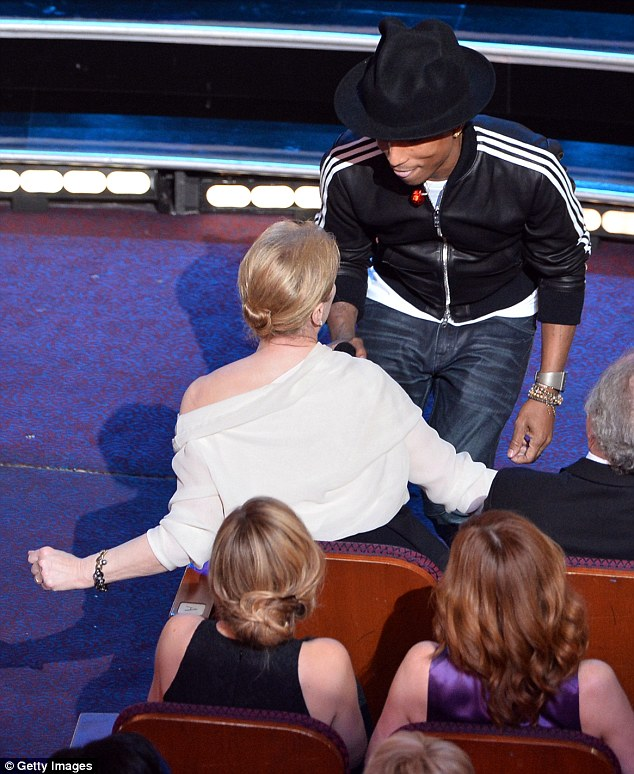 Getting involved: Meryl Street also danced along with Pharrell from her seat in the Dolby Theatre