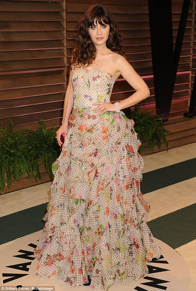New Girl on the block: Zooey Deschanel went OTT in this multi-coloured floral prom dress