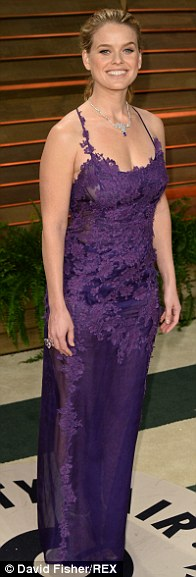 Alice Eve wears purple lace