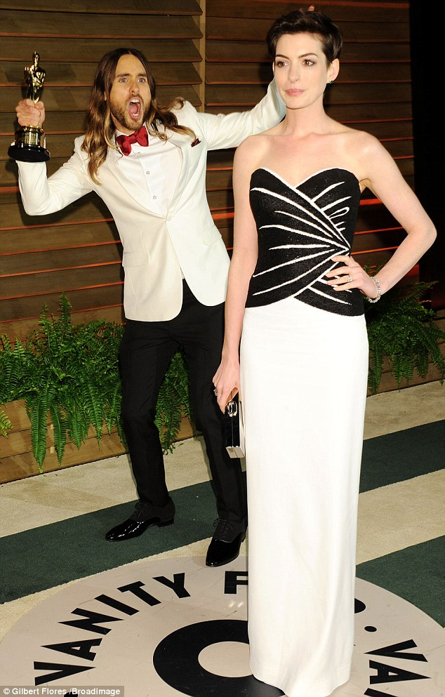 Joker: Jared Leto and his Oscar photobomb Anne at the Vanity Fair fete