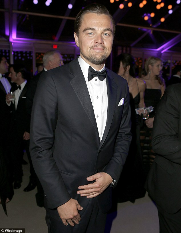 Still smiling: Leonardo DiCaprio enjoyed the party though he lost out yet again on winning an award