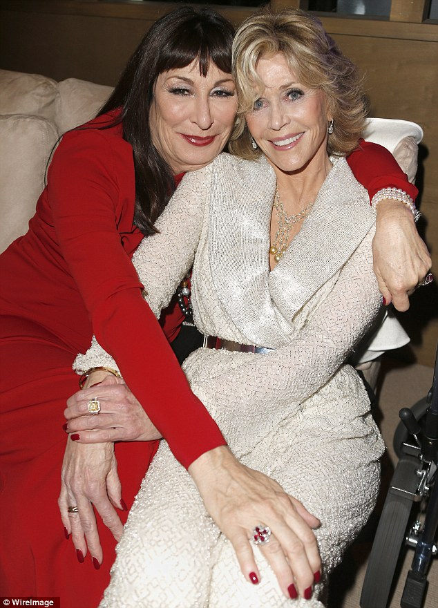 Fire and Ice: Angelica Houston and Jane Fonda catch up inside the event