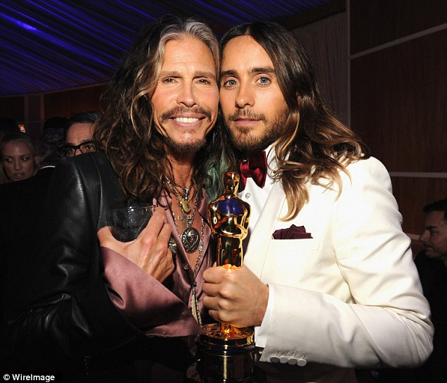 Father and son? Jared and Steve Tyler look related with their matching hairdos and facial hair