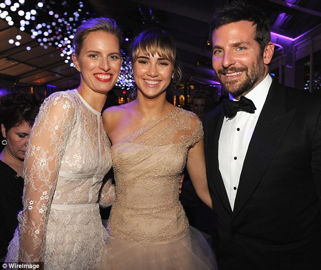 Model friend: Suki Waterhouse and Bradley Cooper pose with Karoline Kurkova