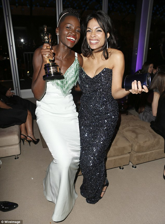 Excited: Rosario Dawsoncan't contain her excitement at Lupita's win