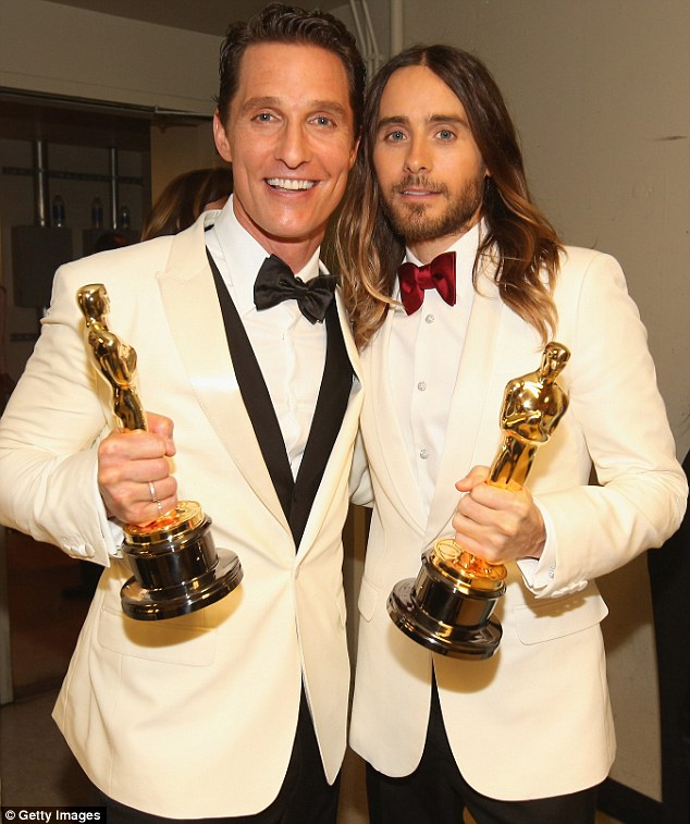 Joining the Club: Matthew and his co-star looked delighted after scooping the prestigious paperweights