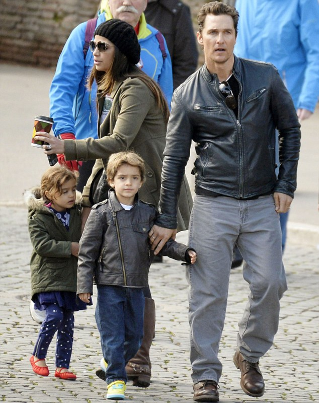 Daddy cool: He made sure he mentioned their their sons Levi, six, Livingston, two, and four-year-old daughter Vida