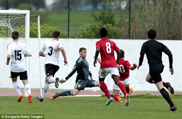 So close: Giorgio Rasulo (No 10) came close to equalising for England in stoppage time but was denied by German goalkeeper Timo Konigsmann